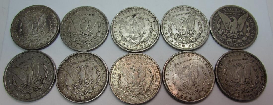 10 MORGAN US SILVER DOLLAR COINS - 2