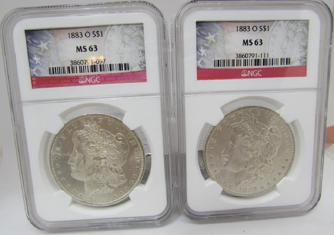 2 US MORGAN SILVER DOLLARS BOTH 1883-O  MS63