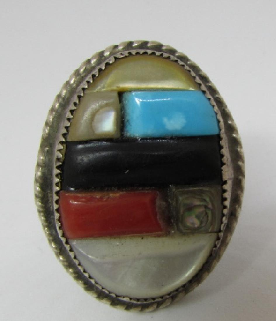 OLD PAWN ZUNI RING COIN SILVER COBBLESTONE STERLING