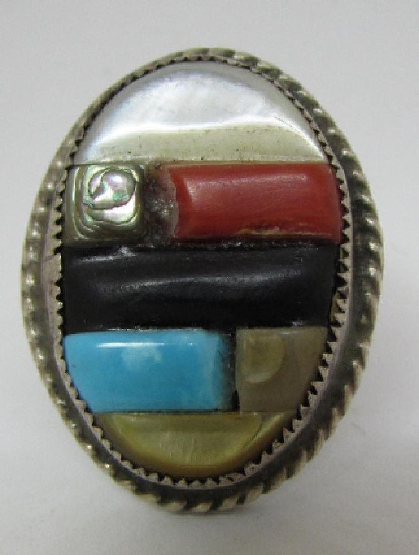 OLD PAWN ZUNI RING COIN SILVER COBBLESTONE STERLING - 2