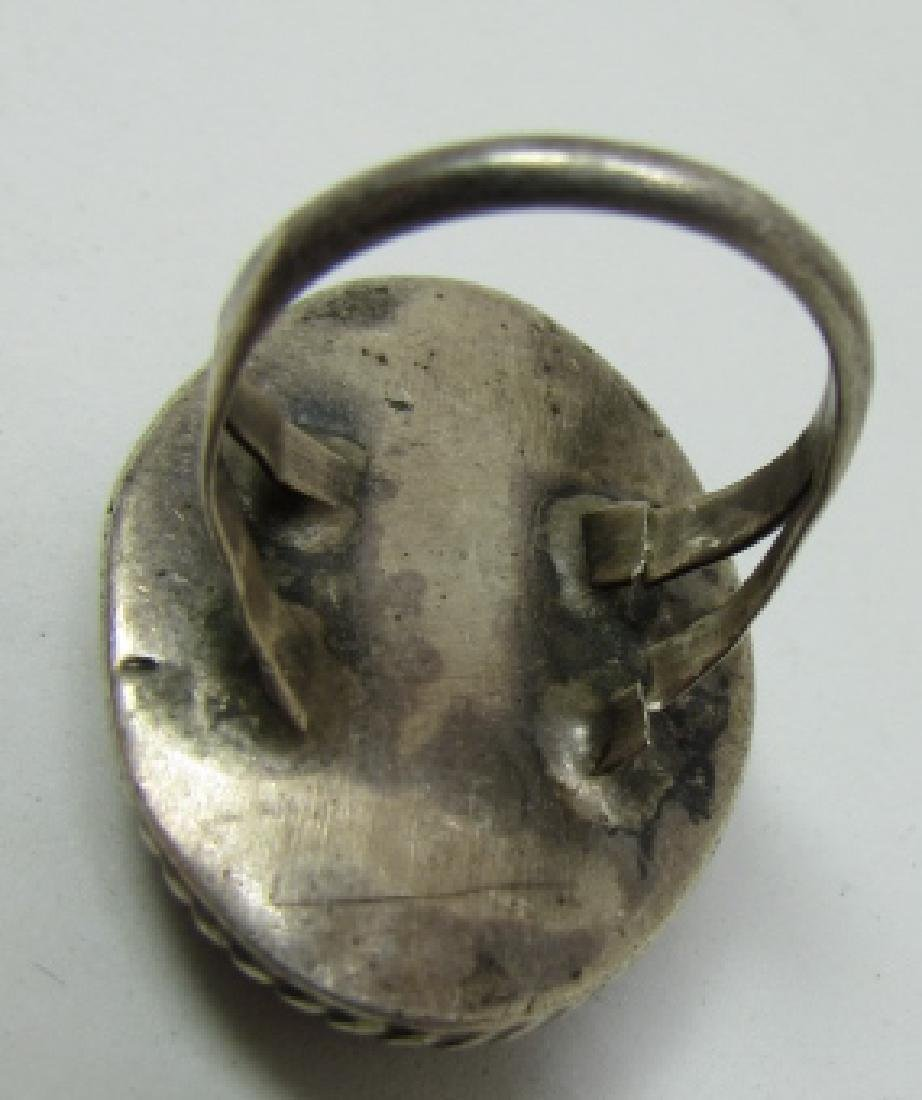 OLD PAWN ZUNI RING COIN SILVER COBBLESTONE STERLING - 3