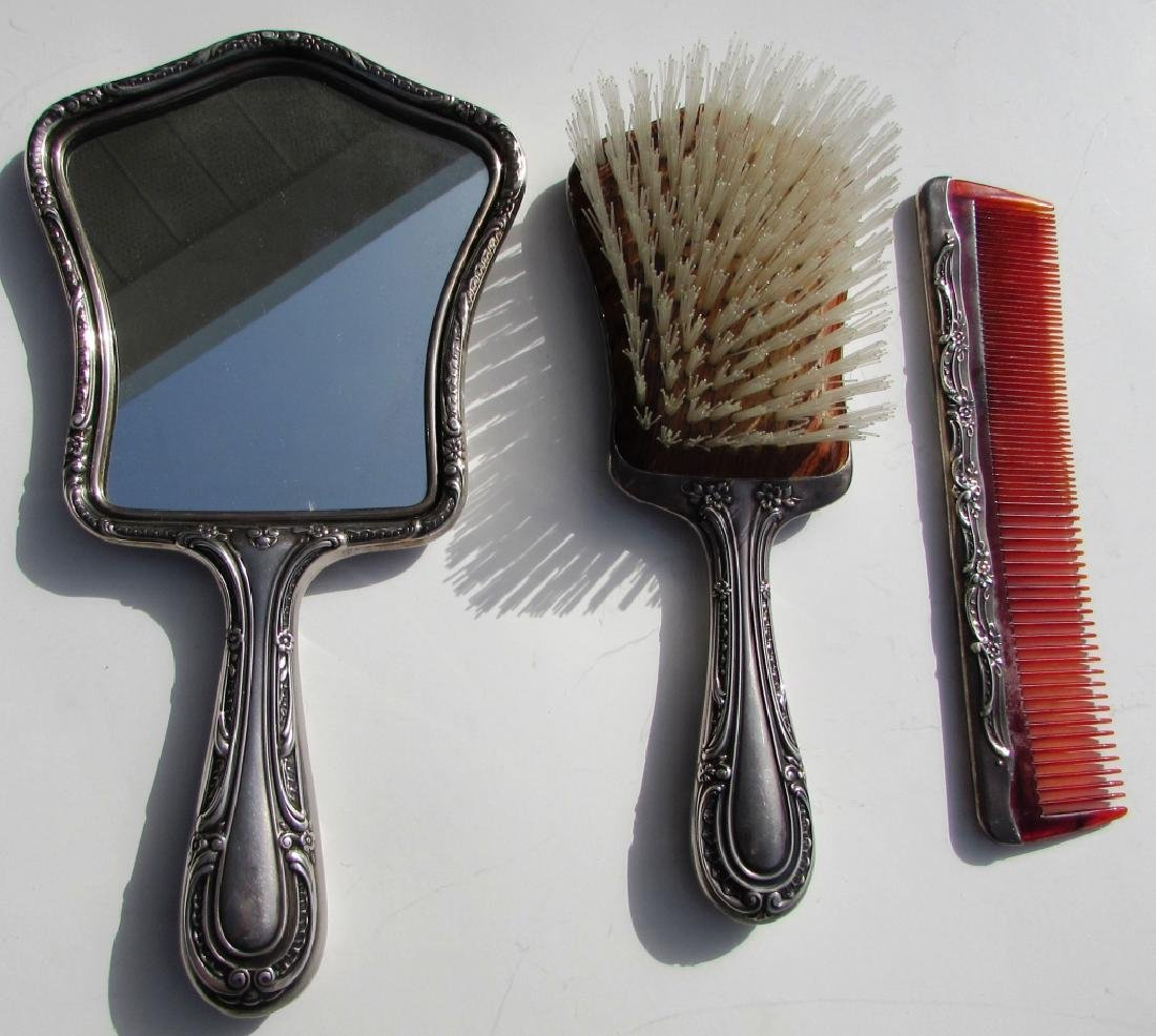 GORHAM #27 STERLING SILVER BRUSH MIRROR COMB SET - 2