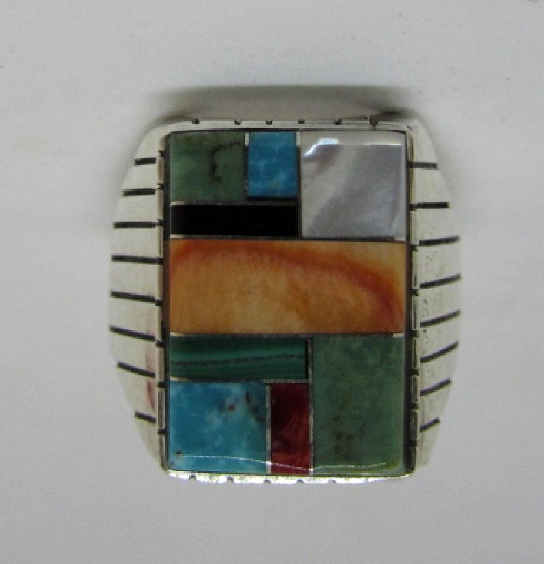 RAY JACK NAVAJO RING STERLING SILVER TURQUOISE INLAY