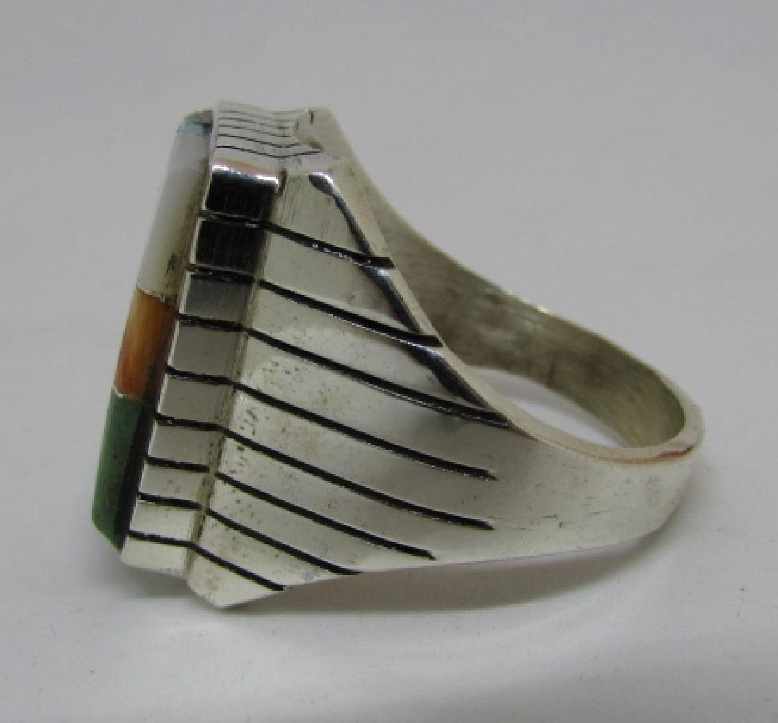 RAY JACK NAVAJO RING STERLING SILVER TURQUOISE INLAY - 2