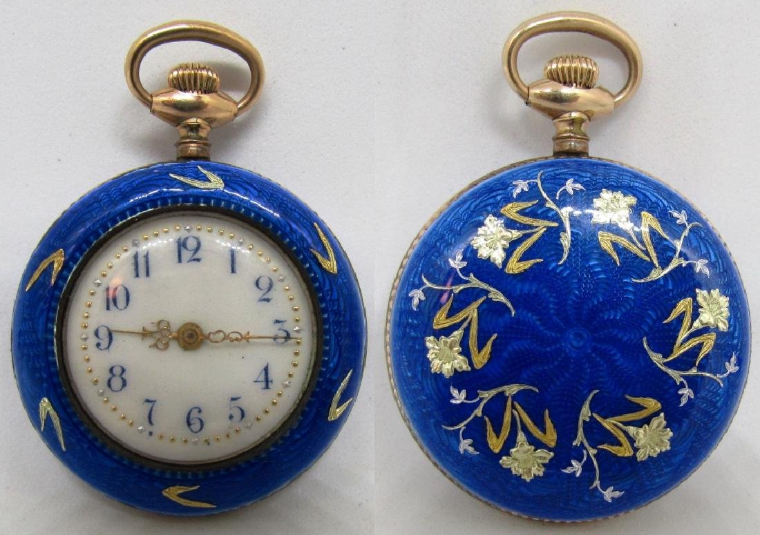 BLUE ENAMEL POCKET WATCH STERLING SILVER W GOLD