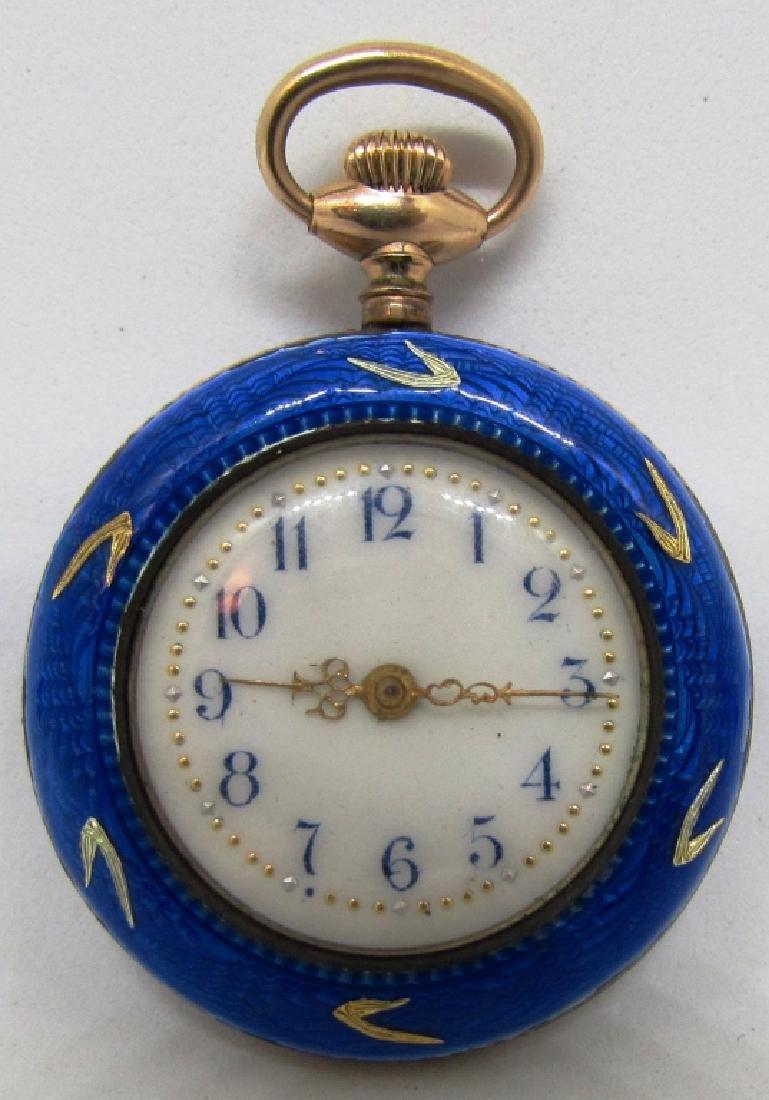 BLUE ENAMEL POCKET WATCH STERLING SILVER W GOLD - 2