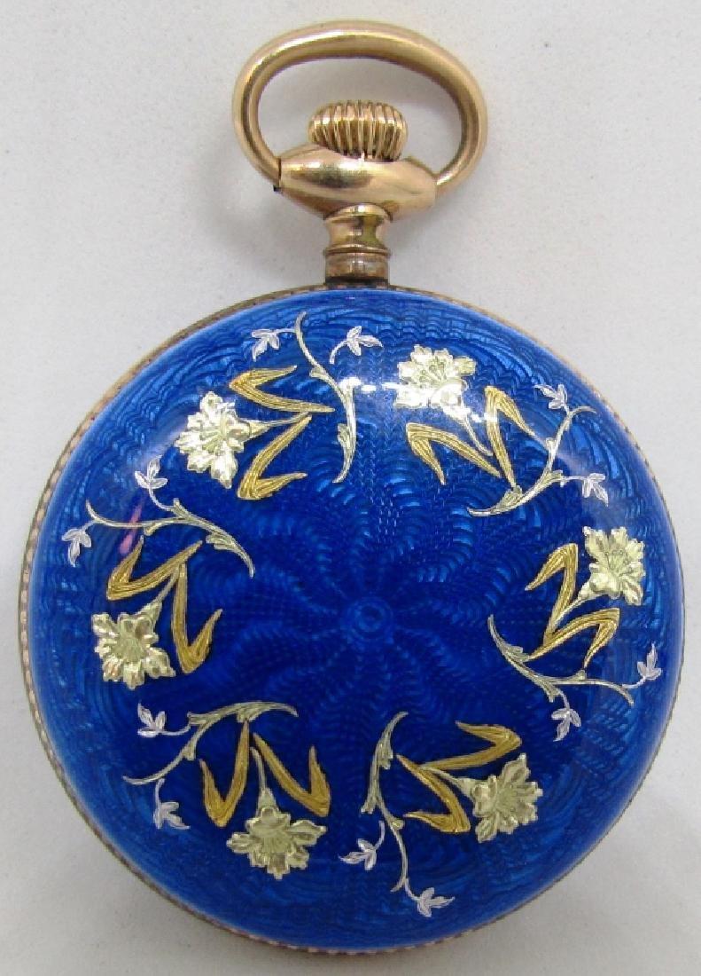 BLUE ENAMEL POCKET WATCH STERLING SILVER W GOLD - 3