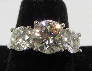 4 CARAT 3 DIAMOND RING 14K WHITE GOLD
