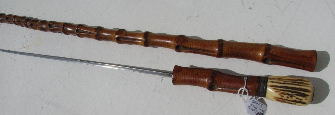 1700's STAG WANGEL WOOD SWORD CANE WALKING STICK - 6