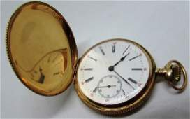 14K GOLD HUNTING CASE SWISS POCKET WATCH