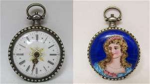 ANTIQUE STERLING SILVER PEARL ENAMEL POCKET WATCH