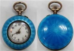 BLUE ENAMEL GUILLOCHE POCKET WATCH 800 SILVER