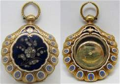 DIAMOND ENAMEL 18K GOLD LOCKET POCKET WATCH CASE