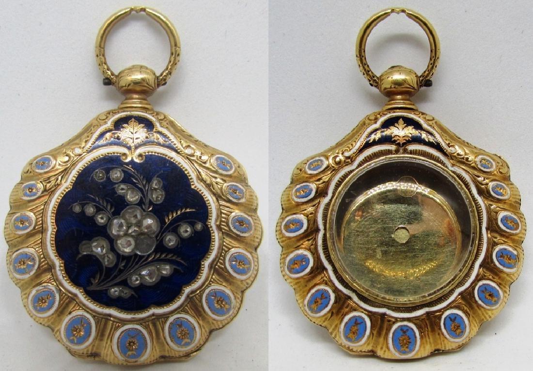 DIAMOND ENAMEL 18K GOLD LOCKET POCKET WATCH CASE