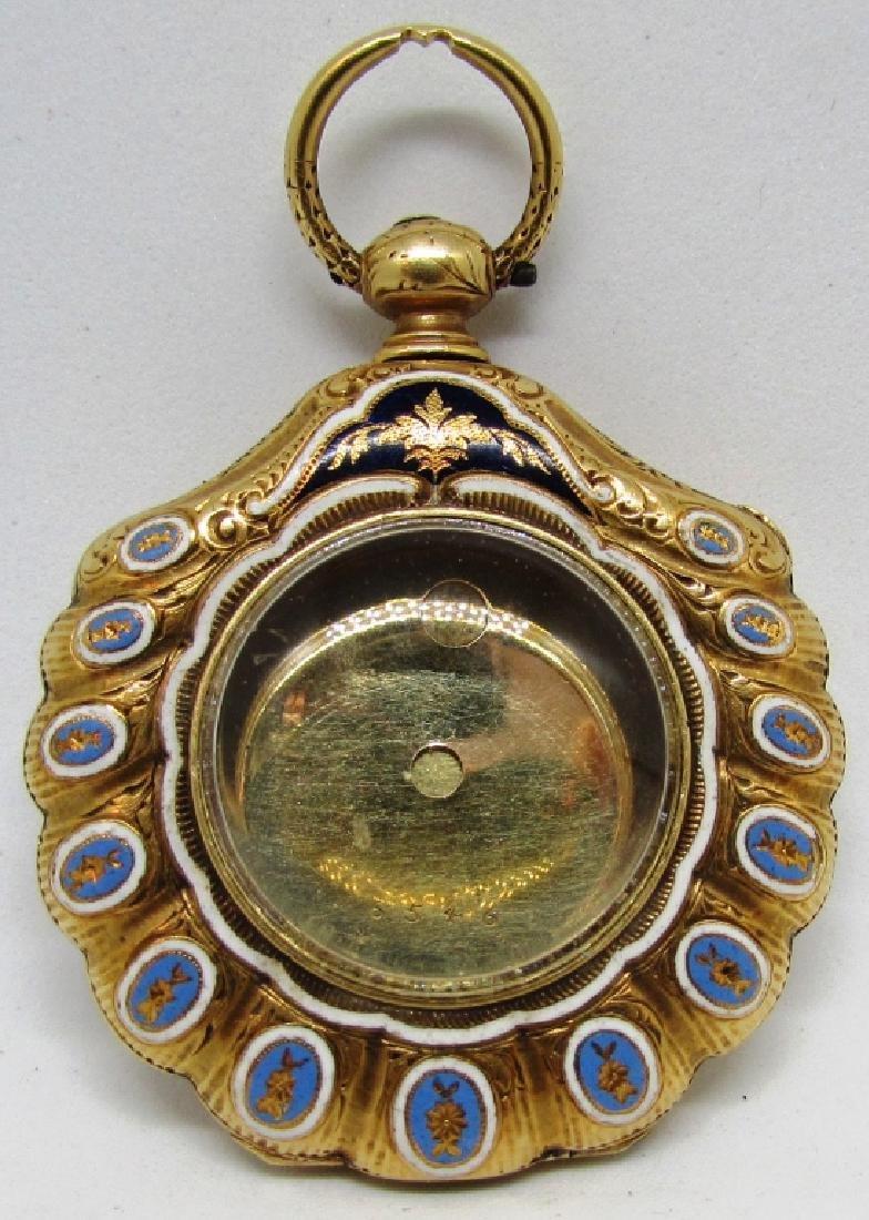 DIAMOND ENAMEL 18K GOLD LOCKET POCKET WATCH CASE - 3