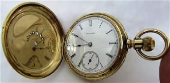 75CT DIAMOND ILLINOIS POCKET WATCH 14K GOLD 1884