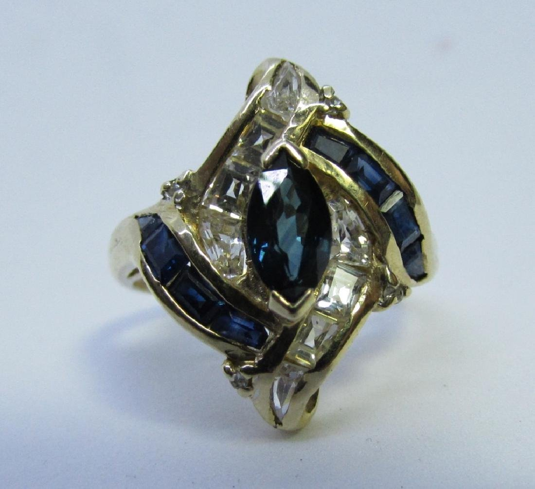 BLUE SAPPHIRE & DIAMOND RING 14K YELLOW GOLD