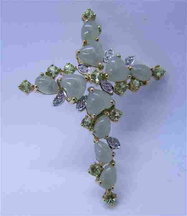 JADE PERIDOT DIAMOND CROSS NECKLACE PENDANT GOLD