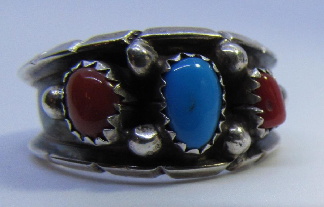 TURQUOISE CORAL RING STERLING SILVER 12 1/2 ML