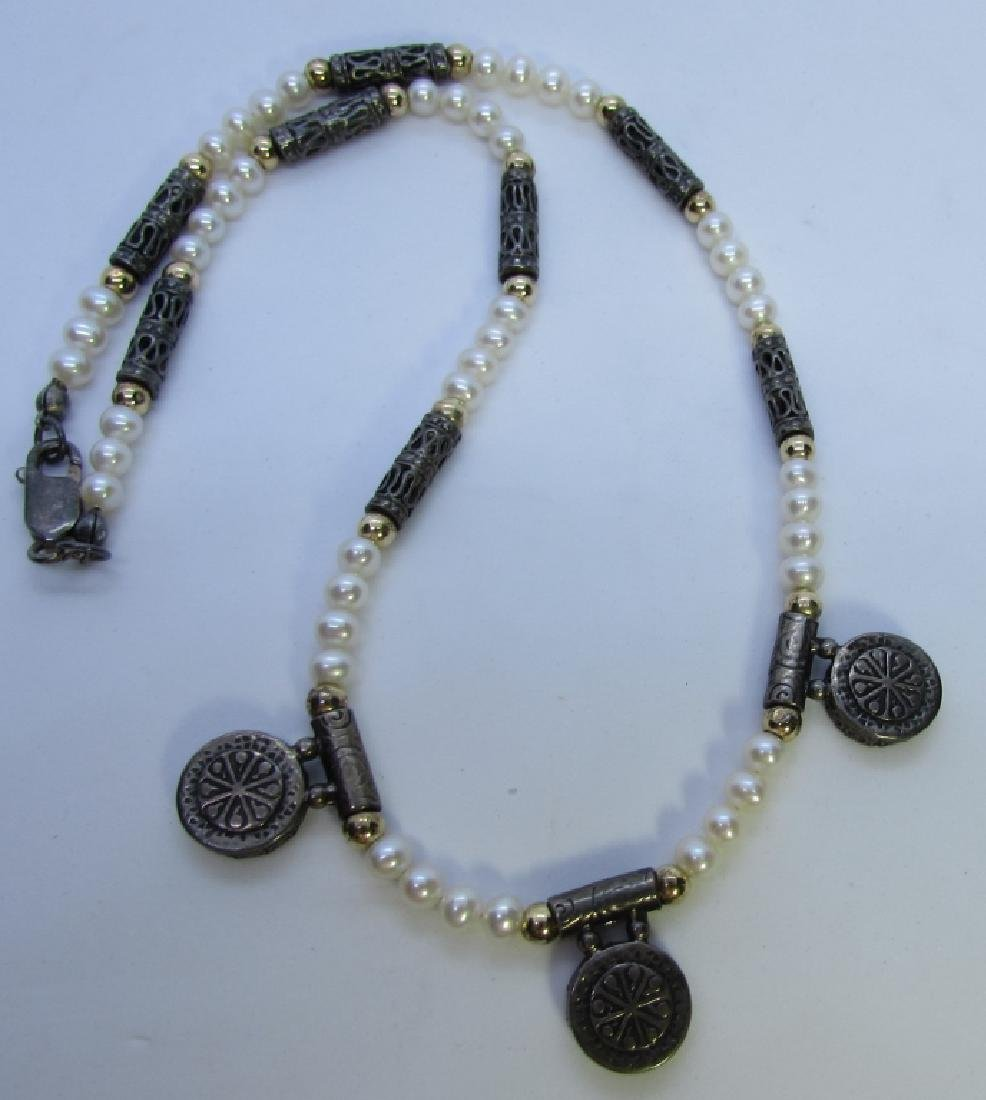 PEARL STERLING SILVER 14K GOLD BEAD NECKLACE