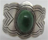 STERLING SILVER CUFF BRACELET MEXICO TURQUOISE
