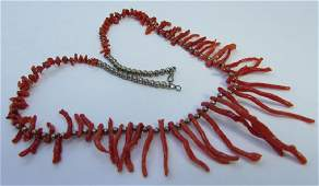 NATIVE AMERICAN BRANCH CORAL NECKLACE STERLING