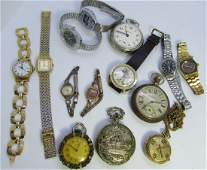 14 WRIST & POCKET WATCHES MICKEY MOUSE LOT