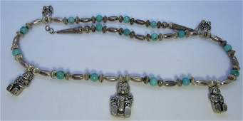 CAROL FELLEY STORYTELLER TURQUOISE NECKLACE SILVER