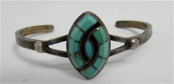 SIGNED EB TURQUOISE CUFF BRACELET STERLING SILVER