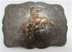 SIGNED RODEO STERLING BELT BUCKLE COWBOY SILVER