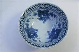 SIGNED RICE BOWL CHINESE BLUE  WHITE FRUIT SOUP