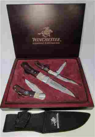 WINCHESTER KNIFE SET WOOD SHOWCASE LIMITED EDITION