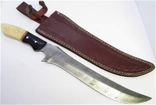 DAMASCUS HORN BONE LARGE CUSTOM KNIFE LEATHER