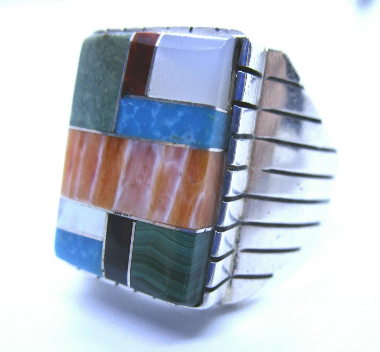 INLAY TURQUOISE RING STERLING SILVER SIZE 13