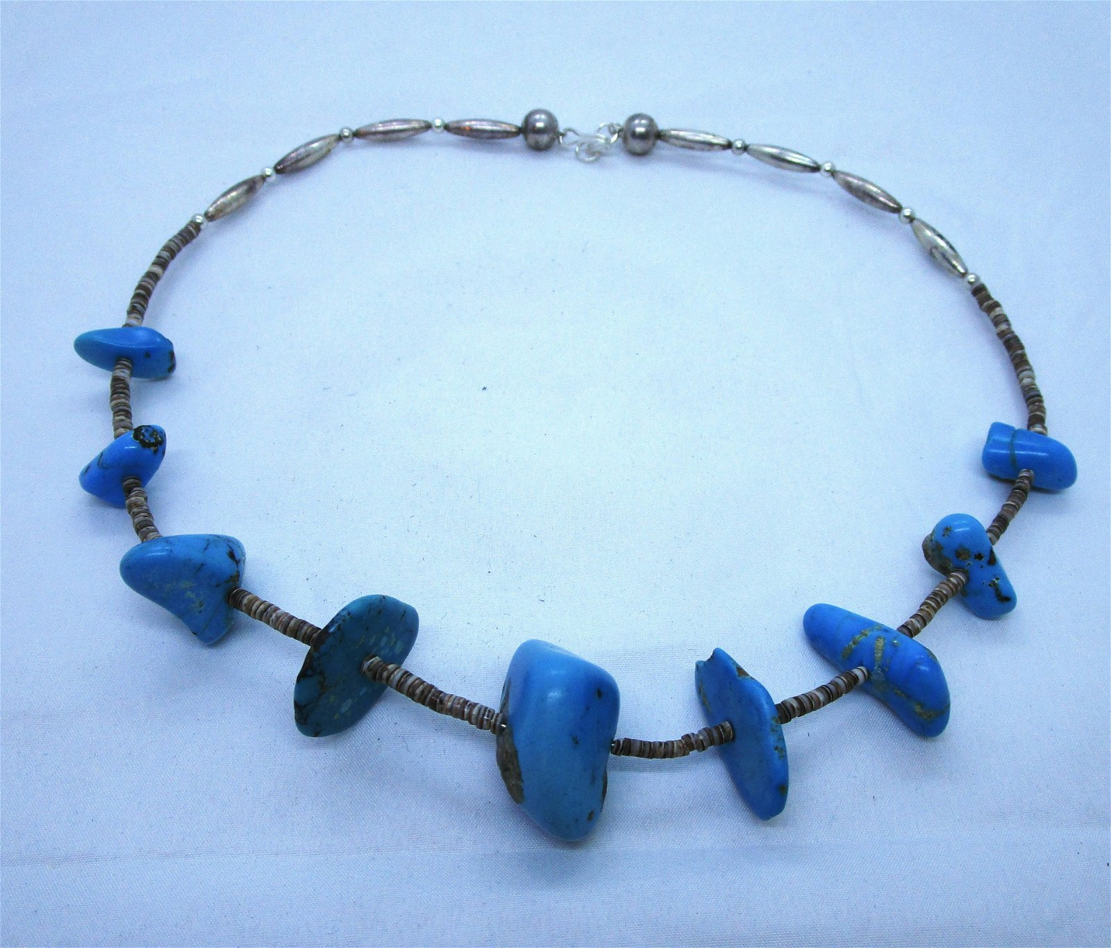 TURQUOISE STERLING SILVER HEISHI BEAD NECKLACE