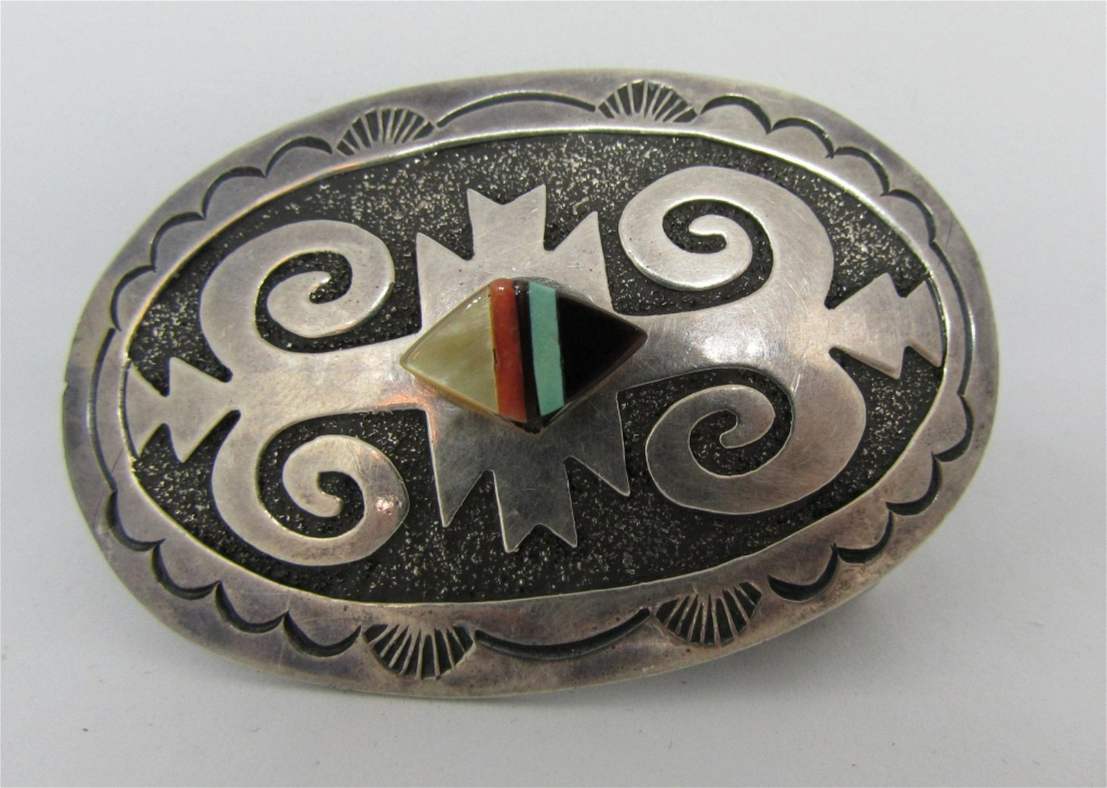 NATIVE SIGNED BELT BUCKLE STERLING SILVER INLAY