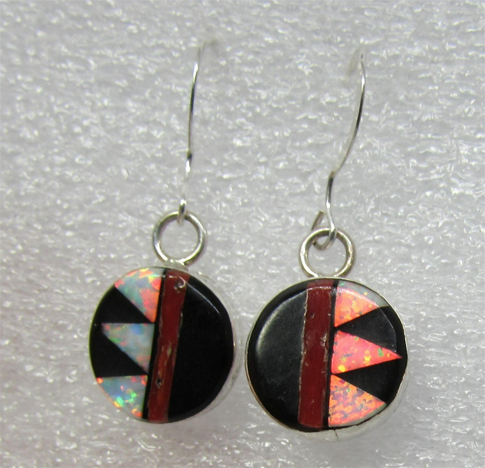 MARTINEZ INLAY EARRINGS STERLING SILVER OYSTER JET