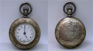 1894 ELGIN COIN STERLING SILVER POCKET WATCH