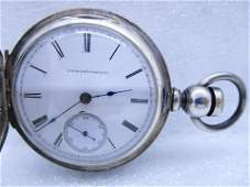 1878 ELGIN POCKET WATCH STERLING SILVER CASE