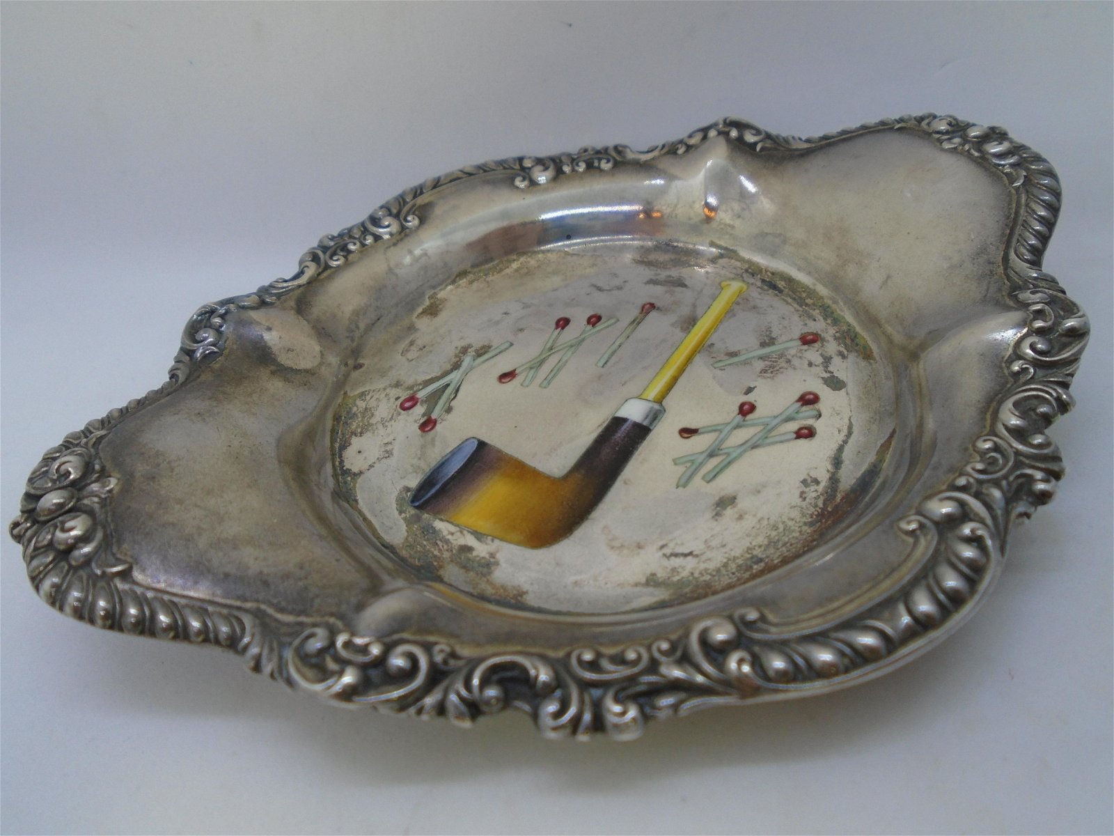 ENAMEL PIPE TRAY REED & BARTON STERLING SILVER