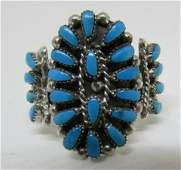 ZUNI PETIT POINT TURQUOISE RING STERLING SILVER