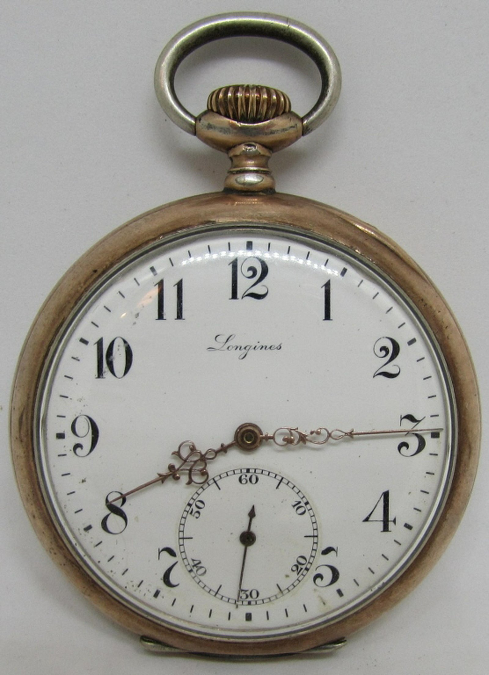 LONGINES POCKET WATCH GOLD & 800 STERLING SILVER