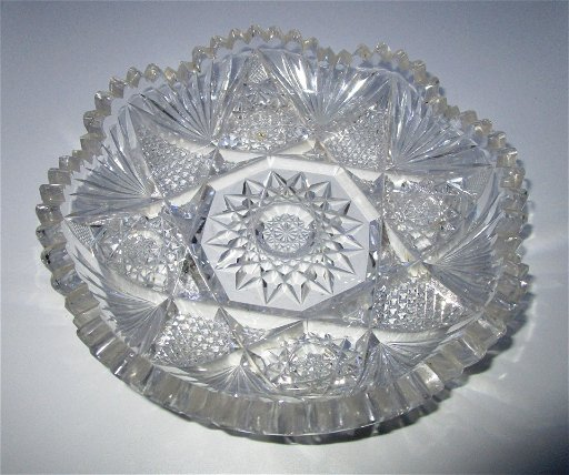 Abp Cut Crystal Candy Dish Bowl Antique