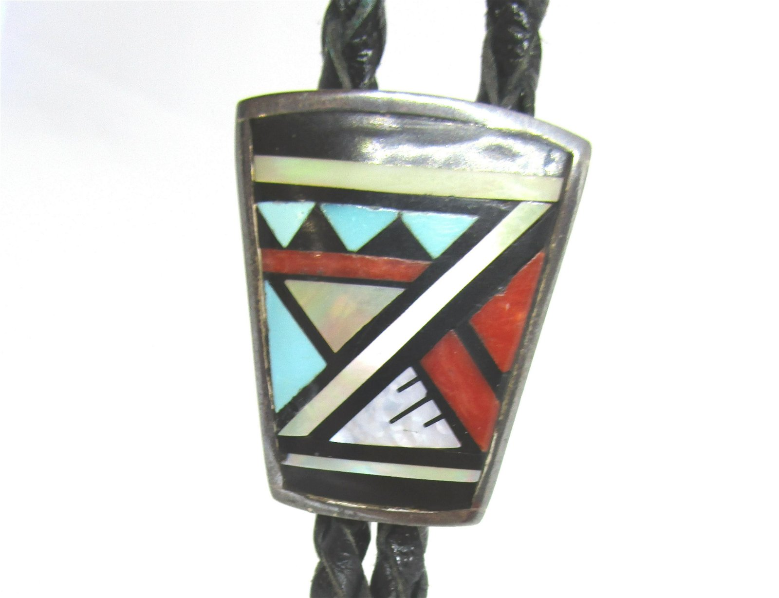 ZUNI SIGNED BOON BOLO TIE NECKLACE STERLING SILVER