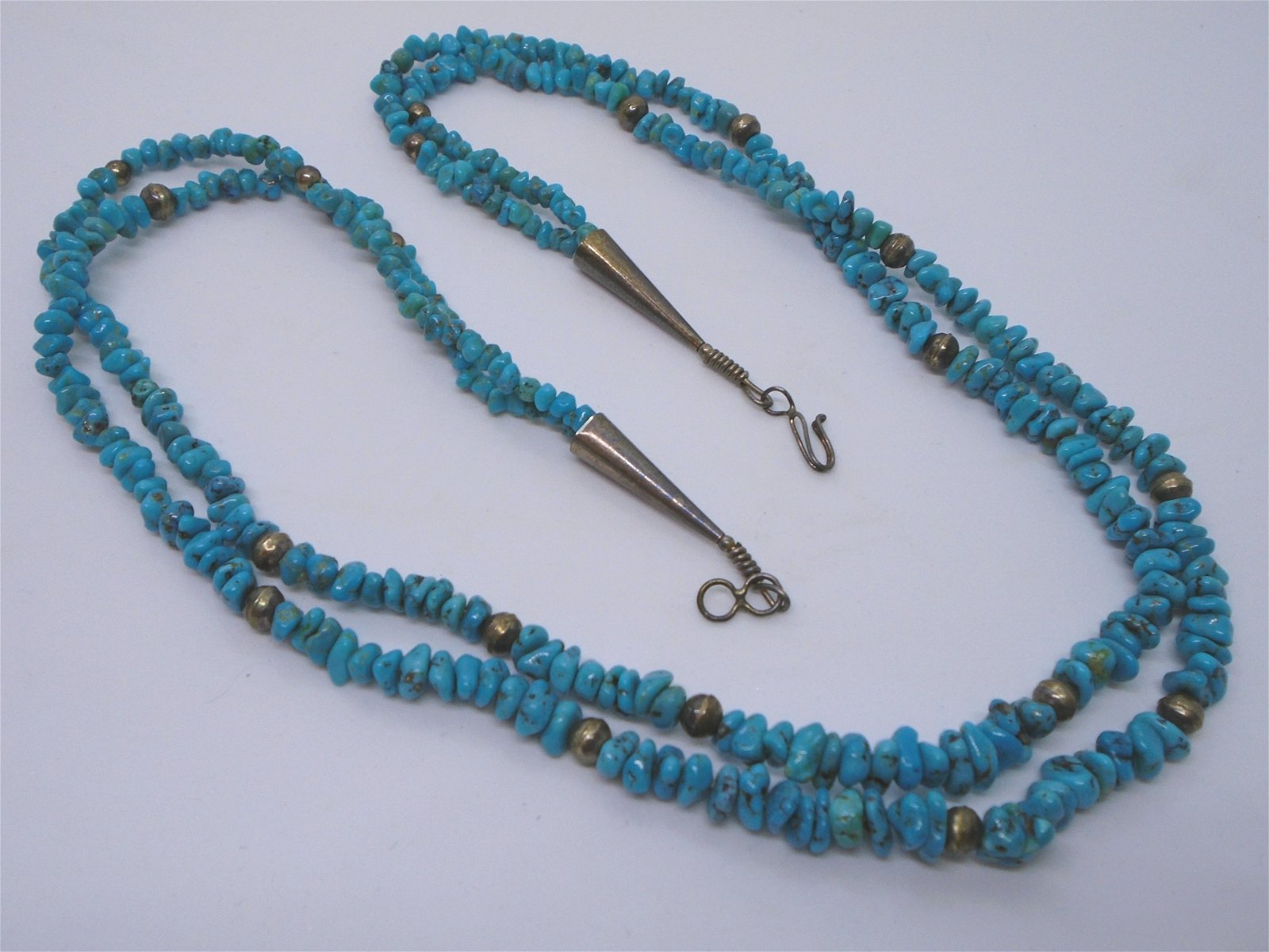 MORENCI TURQUOISE NECKLACE STERLING SILVER BEADS