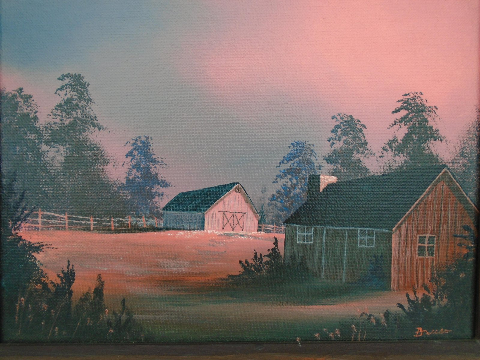 OIL ON BOARD FARM SCENE PAINTING  B VISO? SIGNED