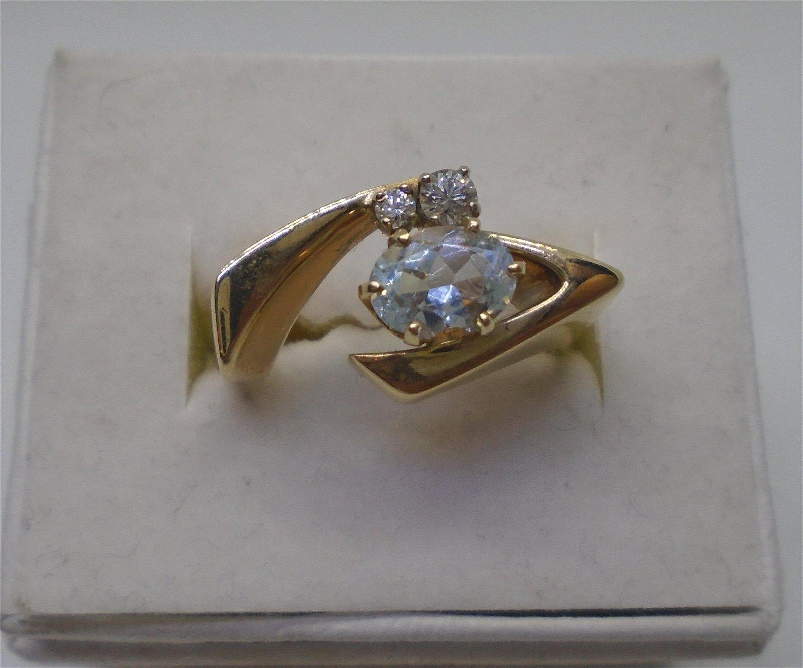 AQUAMARINE DIAMOND RING 14K GOLD VINTAGE ESTATE
