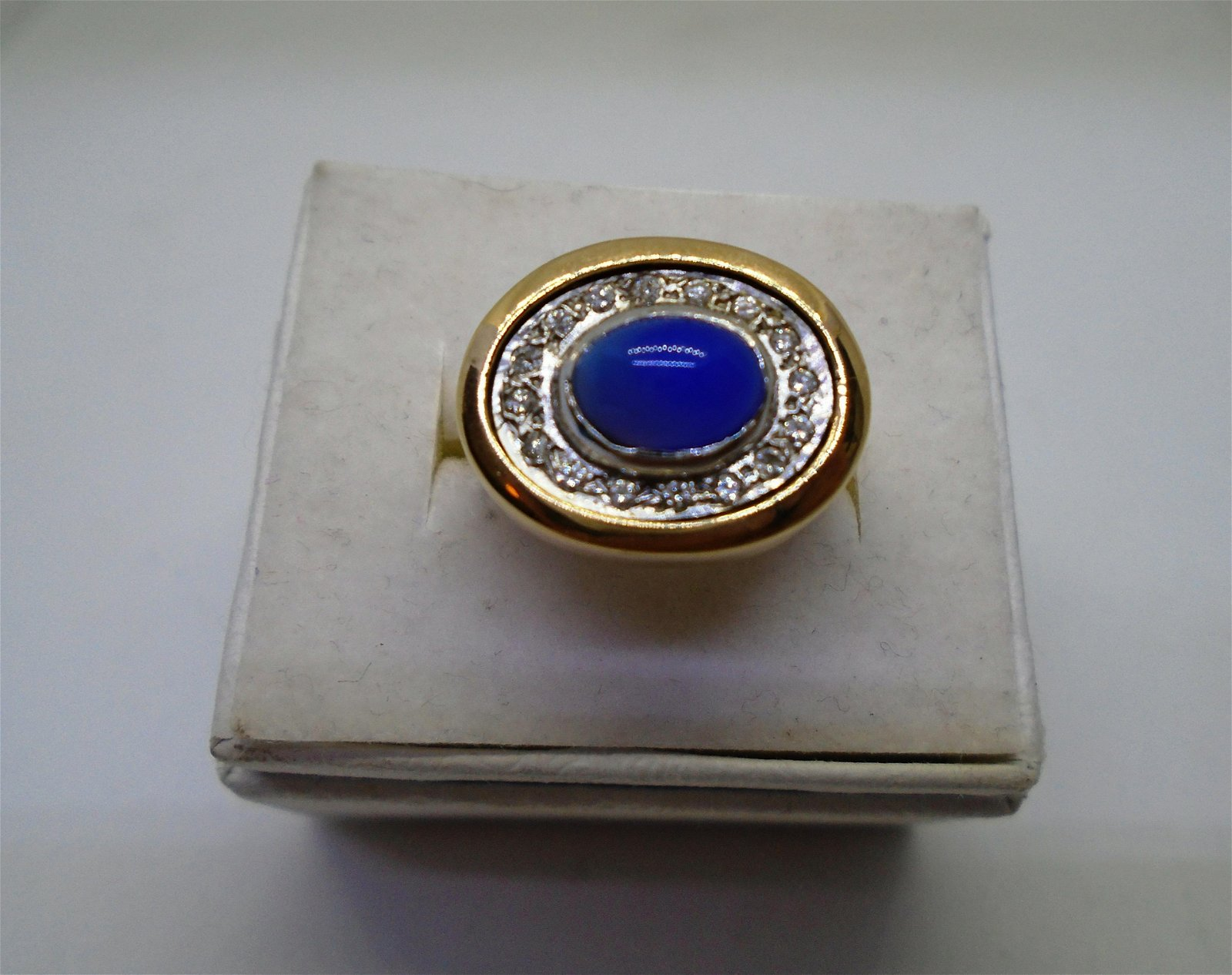 BLUE STAR SAPPHIRE DIAMOND RING 14K GOLD