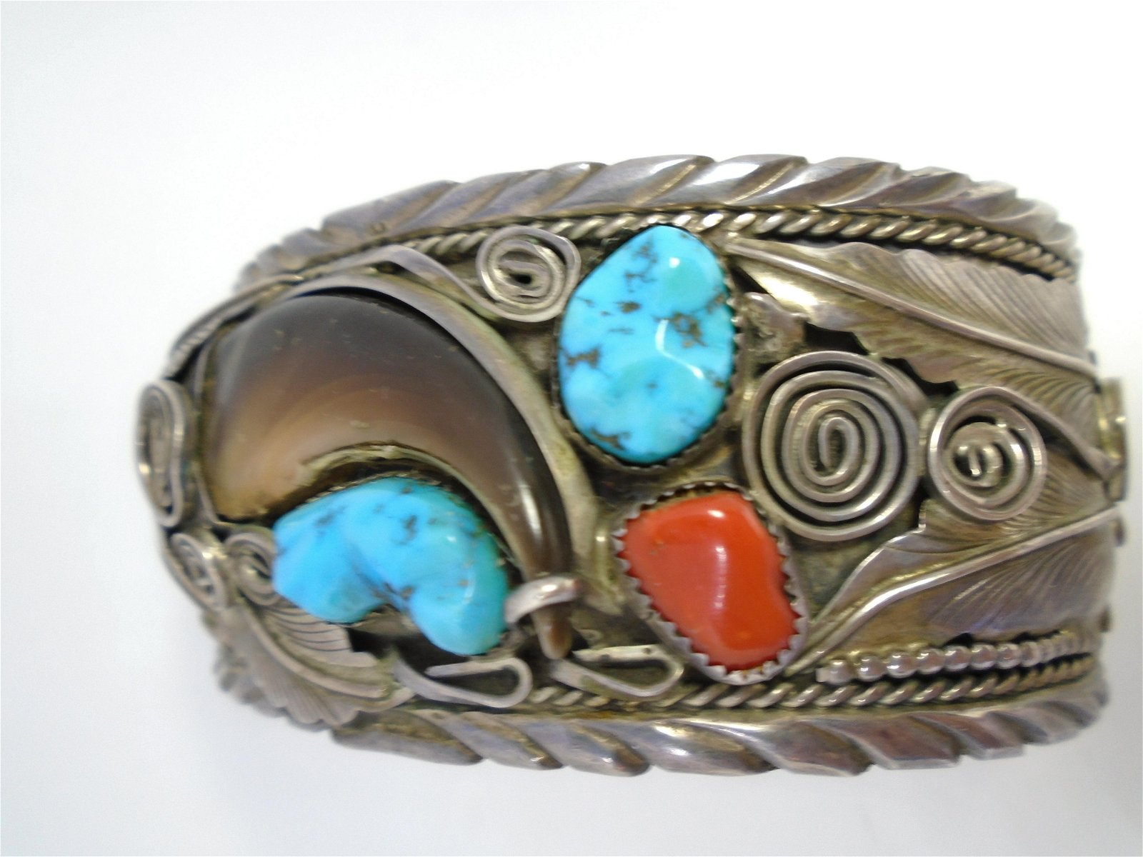 BEAR CLAW TURQUOISE BRACELET STERLING SILVER CUFF
