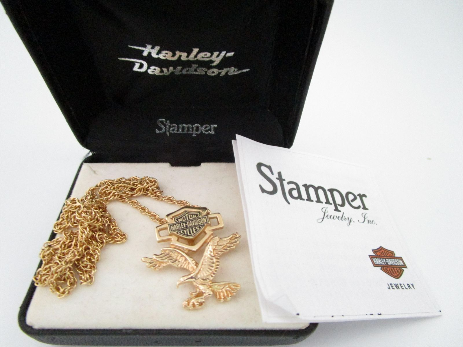 """HARLEY DAVIDSON 20"""" NECKLACE & CHARM YELLOW GOLD"""